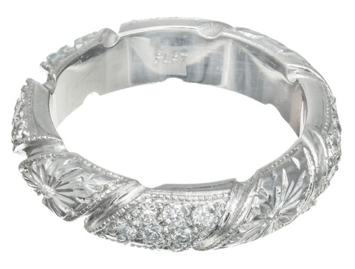 Vintage Solid Platinum .50CTS Pave And Starburst Diamond Engraved Wedding Ring