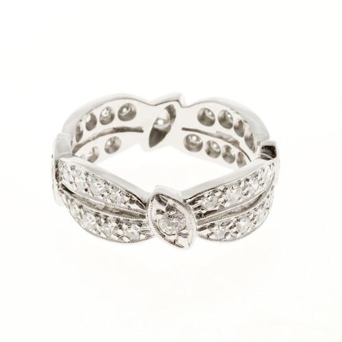Estate 1960 Double Swirl 2 Row Platinum Round Diamond Band Eternity Ring