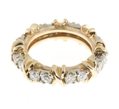 """Vintage 14k White And Yellow Gold 16 Diamond """"X"""" Style Eternity Band Ring 1.60ct"""