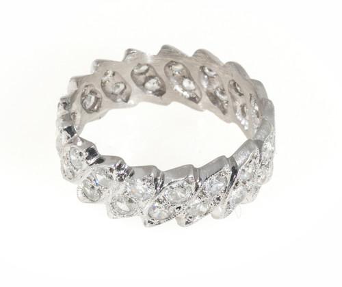Estate 1930'S Platinum Art Deco Marquise & Transitional Diamond Eternity Ring