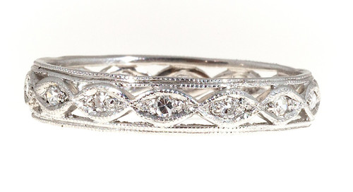 Vintage Art Deco Wide Platinum Delicate Bead Work 14 Diamond Eternity Ring