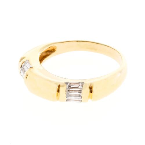Vintage Custom 14k Gold Emerald Cut Baguette Diamond Unusual Band Ring