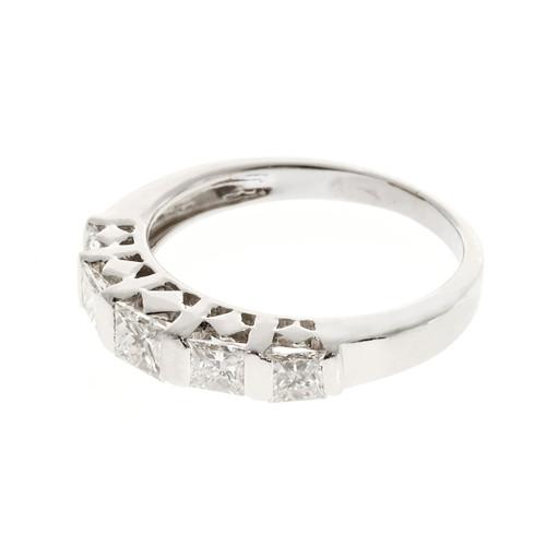Estate 18k White Gold Graduated 5 Stone Bar Princess Cut Diamond .80ct Ring