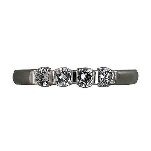 Estate Bar Set 4 Full Cut White Round Diamond .28ct Platinum Ring Band