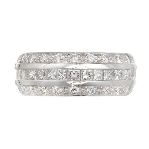 Estate 3 Row Princess Cut & Round Diamond 14k White Gold Band Ring Size 6 1/2