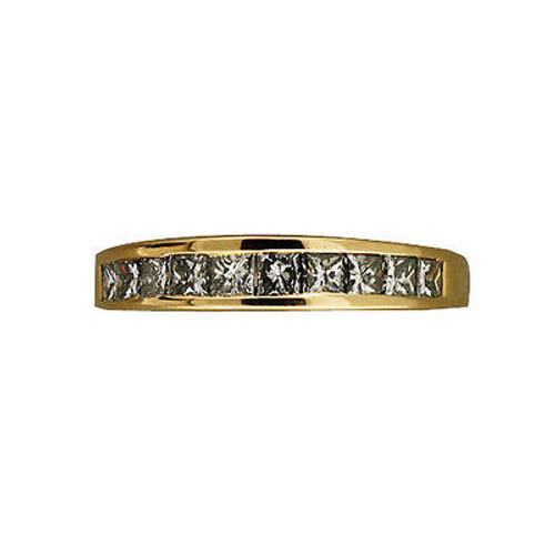 Vintage 14k Yellow Gold Raised Top 10 Princess Cut Diamonds .80ct Channel Ring