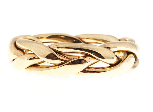 Vintage Designer Samuel Jewels Hand Wrapped Woven 3 Row Wedding Ring Size 9 3/4