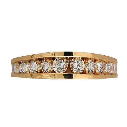 Vintage High Dome Graduated Channel Full Cut Diamond Ring .75CT 14K Yellow Gold