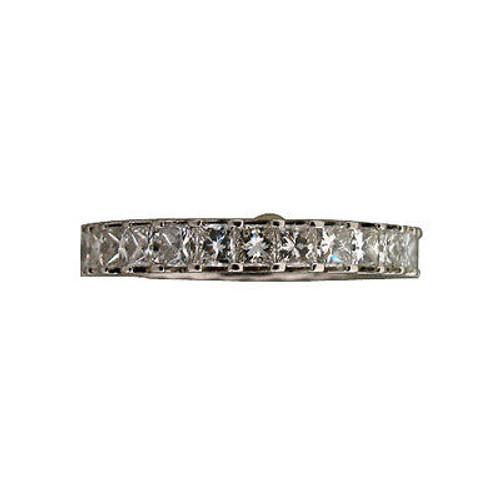 "Estate 2.50ct Solid Platinum ""V"" Shape Pattern Princess Ideal Cut Eternity Ring"