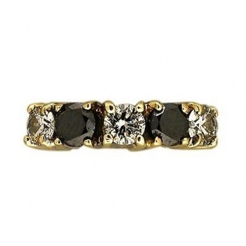 Estate 14k Yellow Gold Round 3 Diamond 2 Sapphire Raised Top Ring
