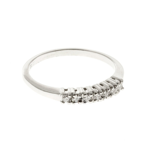 Vintage Solid Platinum 7 Bright White Full Cut Round Diamond .20ct Ring Size 6