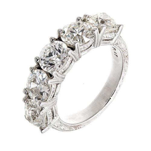 Peter Suchy 5 Diamond Old European Cut Engraved Platinum Ring