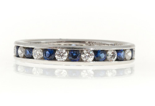 Vintage Kwiat B Platinum .42CT Diamond.70CT Sapphire Eternity Size 5 Band Ring