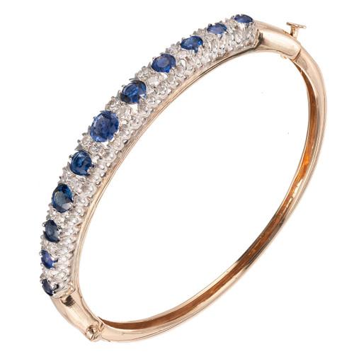 Vintage 5.50ct Natural No Heat Sapphire 14k .40ct Diamond Oval Bracelet