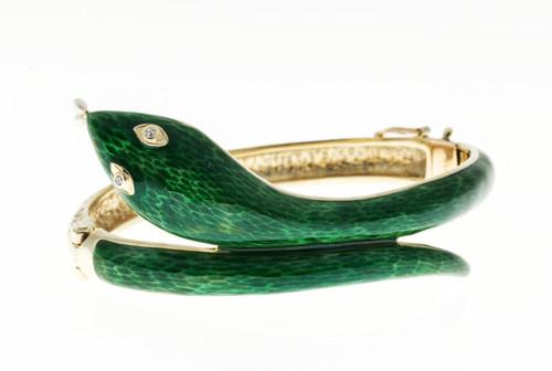 Vintage 14k Yellow Gold Snake Bangle Bracelet .02ct Diamond Eyes