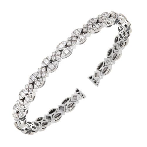 Vintage Sonia B Heavy Solid 14k White Gold 1.75ct Round Diamond Flex Bracelet
