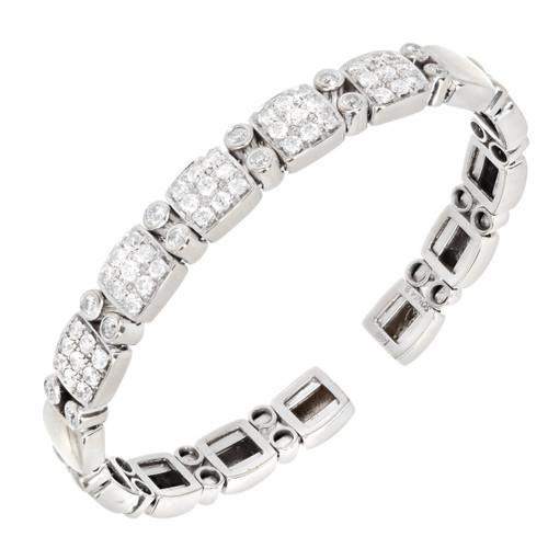 Vintage Sonia B 1.70ct Round Diamond Solid 14k White Gold Flex Bracelet