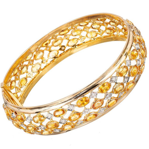 28.30 Carat Diamond Sapphire Three-Row Yellow Gold Hinged Bangle Bracelet