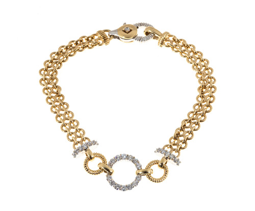 .70 Carat Diamond Gold Two-Row Chain Link Circle Bracelet