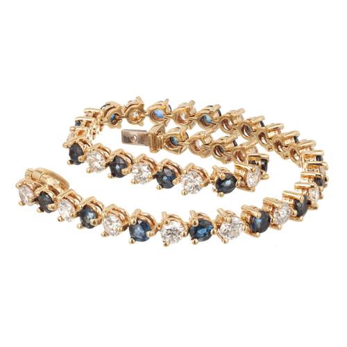 Estate 18k Yellow Gold Diamond 4.20ct & Sapphire 3.15ct Hinged Link Bracelet