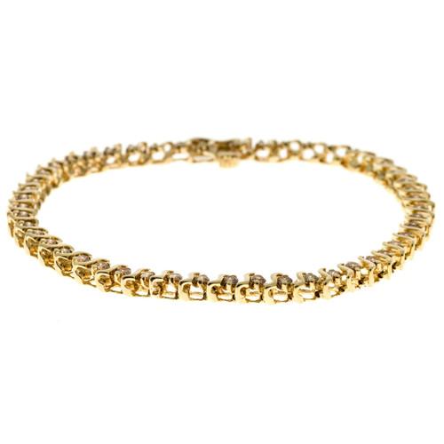 "Vintage 14k Gold Natural 1.20ct. Pinkish Brown Round Diamond ""S"" Link Bracelet"