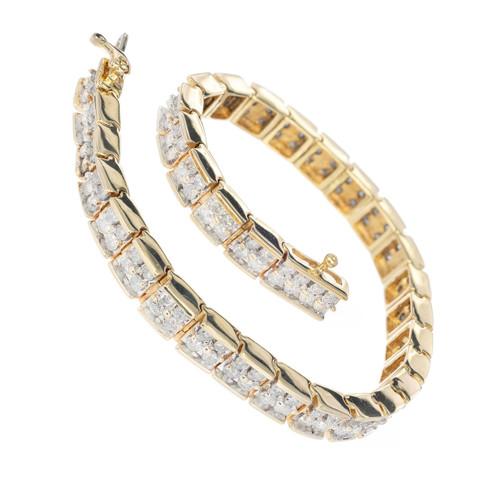 Vintage 4.00ct Full Cut Diamond 14k Gold Solid Hinged Link Two Row Bracelet