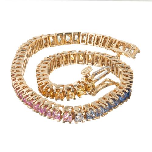 10.00ct Princess Sapphire 14k Gold Hinged Link Bracelet