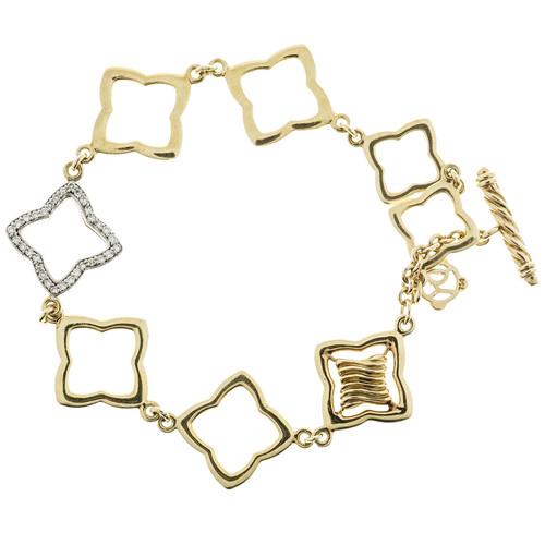David Yurman 18k Gold 8 Link Toggle .32ct Full Cut Diamond Bracelet