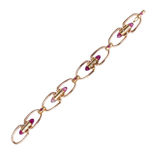 "18 Pink & Green Gold Pink Briolette Tourmaline Ruby Diamond ""u"" Link  Bracelet"