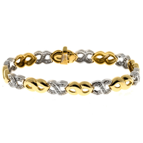 Vintage 18k Yellow And White Gold 88 Pave Set Diamond Swirl Link Bracelet