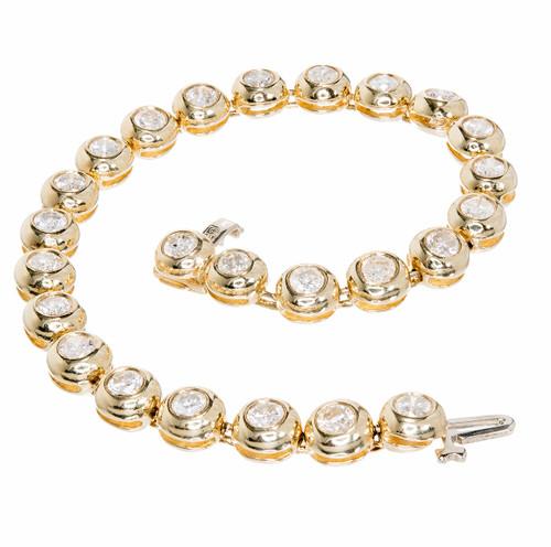 5.25 Carat Diamond Gold Round Tube Set Hinged Bracelet