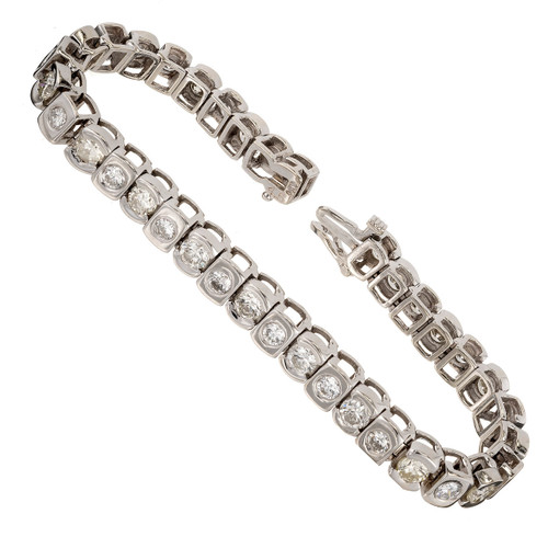 Vintage 9.00ct Hinged 14k White Gold Brilliant And Full Cut Diamond Bracelet