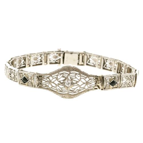 Vintage Filigree 1940 Art Deco 14k  Bracelet .07ct Diamond Calibre Sapphire