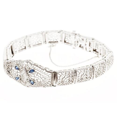 Vintage Filigree 14k White Gold .18ct Sapphire .03ct Diamond Bracelet