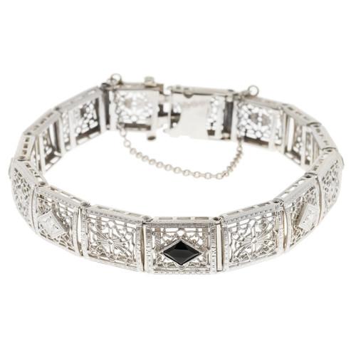 Art Deco Calibrè Onyx Bracelet .60ct 14k White Gold Diamond Filigree Bracelet