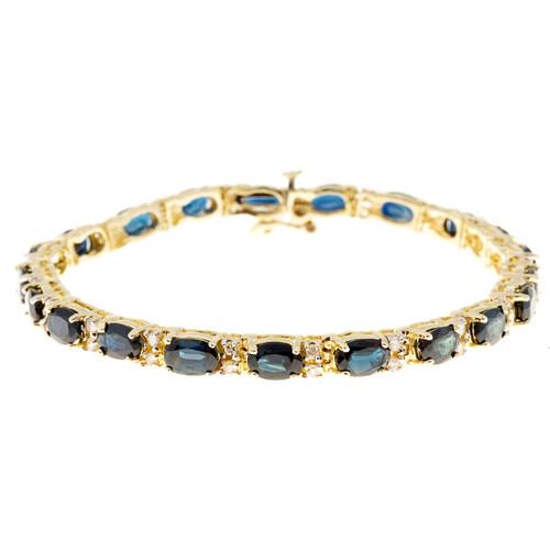 Vintage 13.65ct Blue Sapphire .65ct Diamond 14k Yellow Gold 7 Inch Bracelet