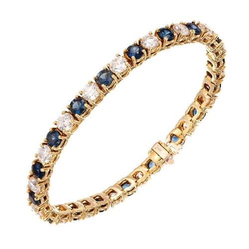 Vintage 8.00ct Diamond 10.00ct Sapphire 18k Yellow Gold Bracelet