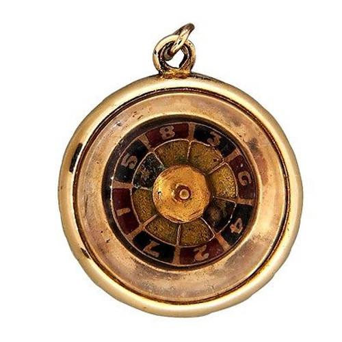 Vintage Estate Roulette Wheel 3D Mechanical 14k Spinning Charm