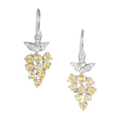 2.82 Carat Yellow Sapphire Pave Diamond Platinum Dangle Earrings