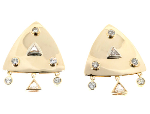 1.65 Carat Diamond Gold Triangular Post Clip Earrings