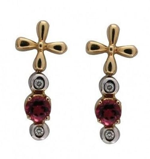 Estate 14k Yellow White Gold Pink Tourmaline & Diamond Hinged Dangle Earrings