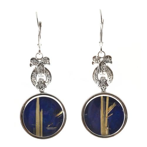 Vintage Art Deco Euro Wire Bow Motif 14k Rutile Quartz Lapis Dangle Earrings