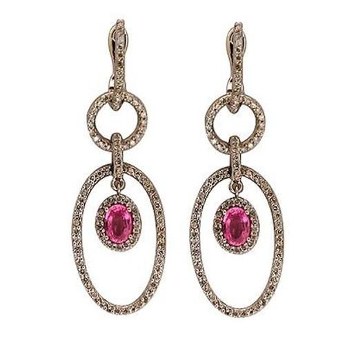 172 Full Cut Diamond 14k White Gold Oval Pink Sapphire 5 Section Dangle Earrings