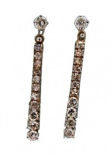 Estate 1950s 14k Yellow Gold Diamond Hinged Dangle Earrings White Gold Stud Top