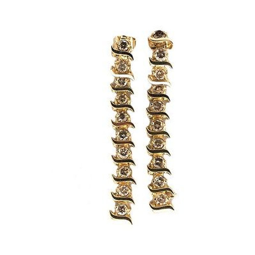 """S"" Link 14k Yellow Gold 1.60ct Light Golden Brown Diamond Dangle Earrings"
