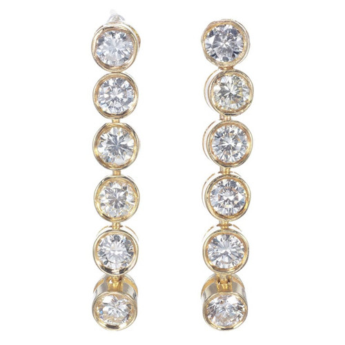 .75 Carat Diamond Yellow Gold Dangle Earrings