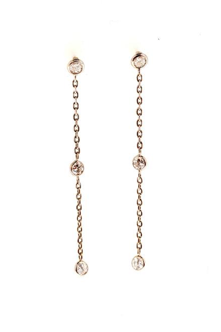 Vintage .75ct 6 Full Cut Diamond 14k Gold Bezel Set Dangle Pierced Earrings