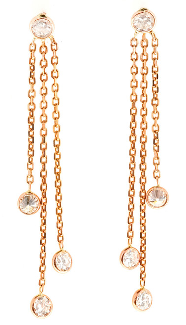 Vintage Diamond by the Yard Style .85CT 14K Pink Gold Dangle Earrings