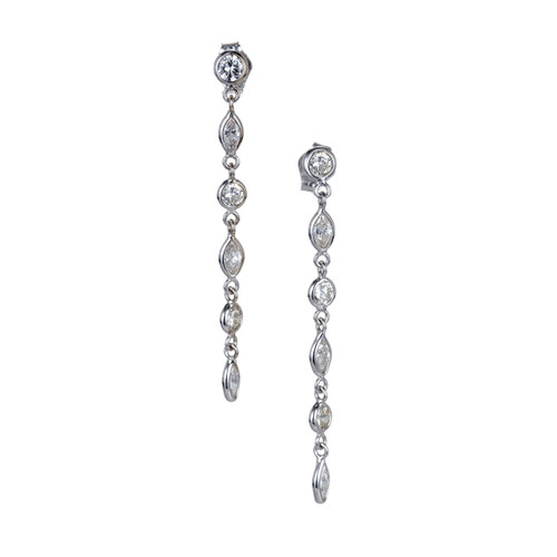 Vintage 1.06ct 14k Gold Marquise and Round Diamond Dangle Pierced Earrings