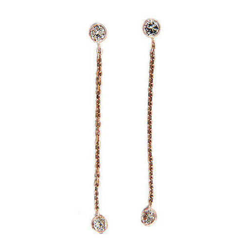 Vintage Diamond by the Yard Style Dangle Earrings .55ct 14k Pink Gold